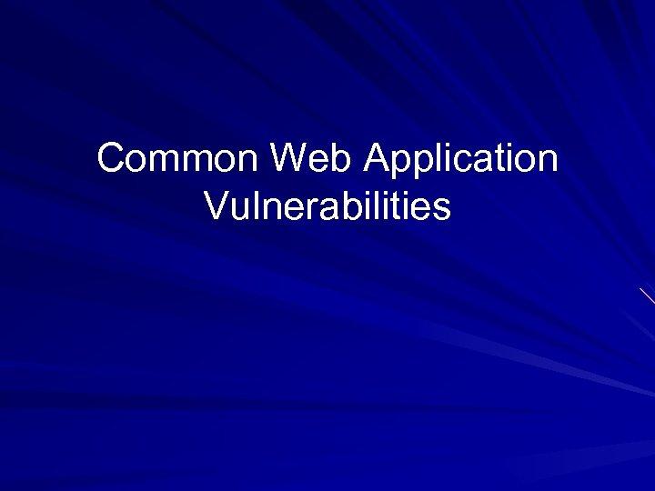 Common Web Application Vulnerabilities