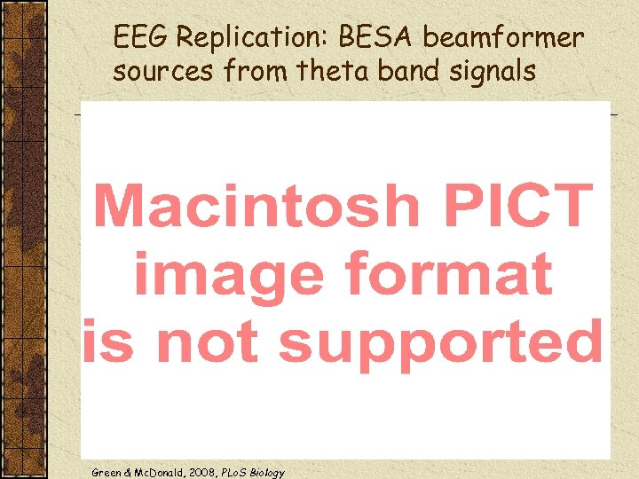 EEG Replication: BESA beamformer sources from theta band signals Green & Mc. Donald, 2008,