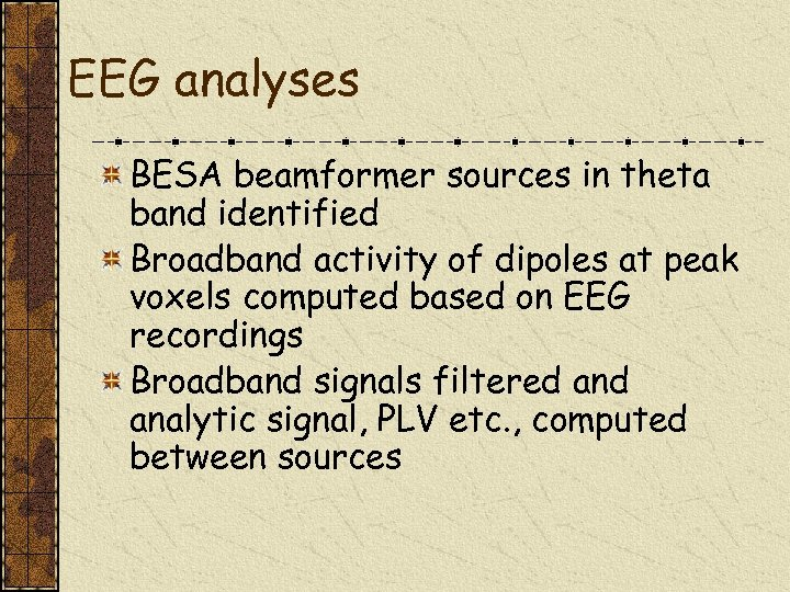 EEG analyses BESA beamformer sources in theta band identified Broadband activity of dipoles at