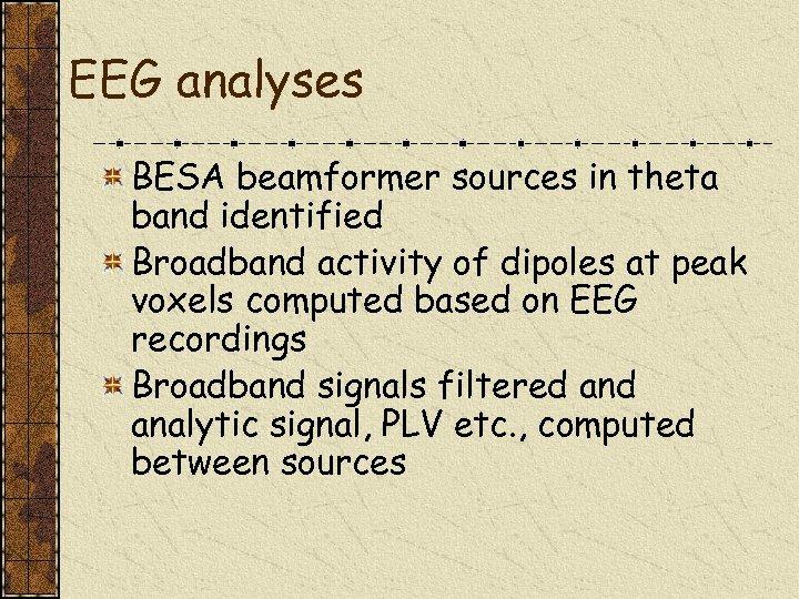 EEG analyses BESA beamformer sources in theta band identified Broadband activity of dipoles at
