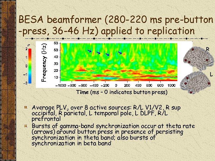 Frequency (Hz) BESA beamformer (280 -220 ms pre-button -press, 36 -46 Hz) applied to