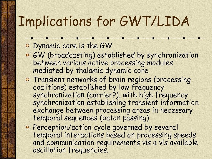 Implications for GWT/LIDA Dynamic core is the GW GW (broadcasting) established by synchronization between