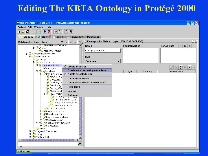 Editing The KBTA Ontology in Protégé 2000