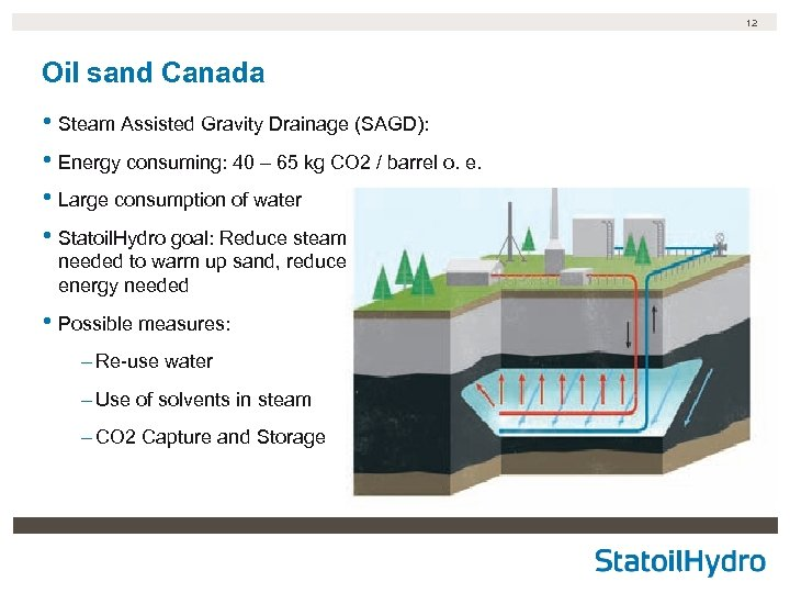 12 Oil sand Canada • Steam Assisted Gravity Drainage (SAGD): • Energy consuming: 40