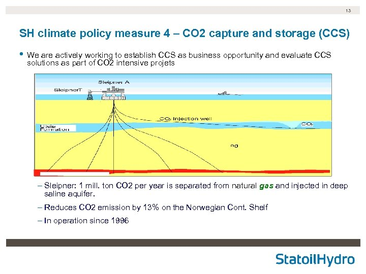 13 SH climate policy measure 4 – CO 2 capture and storage (CCS) •