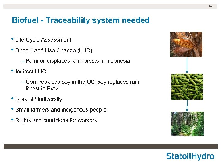 26 Biofuel - Traceability system needed • Life Cycle Assessment • Direct Land Use