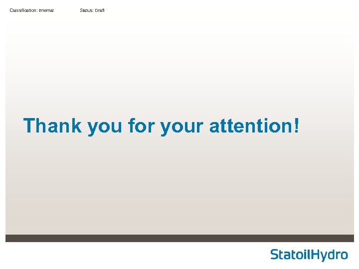 Classification: Internal Status: Draft Thank you for your attention!