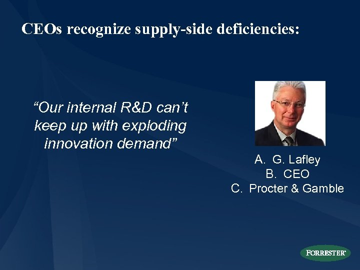 "CEOs recognize supply-side deficiencies: ""Our internal R&D can't keep up with exploding innovation demand"""