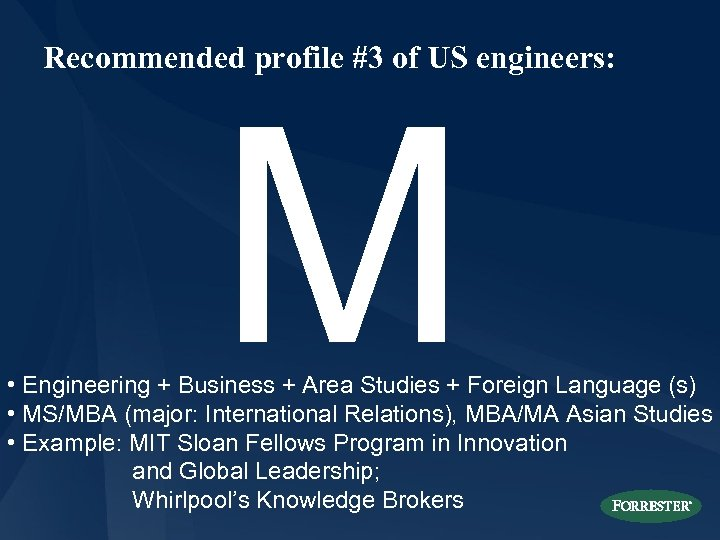 Recommended profile #3 of US engineers: M • Engineering + Business + Area Studies