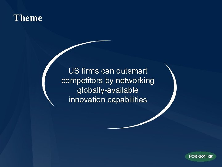 Theme US firms can outsmart competitors by networking globally-available innovation capabilities