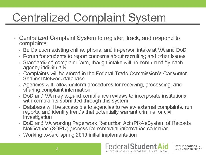 Centralized Complaint System • Centralized Complaint System to register, track, and respond to complaints