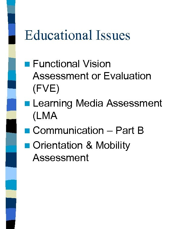 Educational Issues n Functional Vision Assessment or Evaluation (FVE) n Learning Media Assessment (LMA
