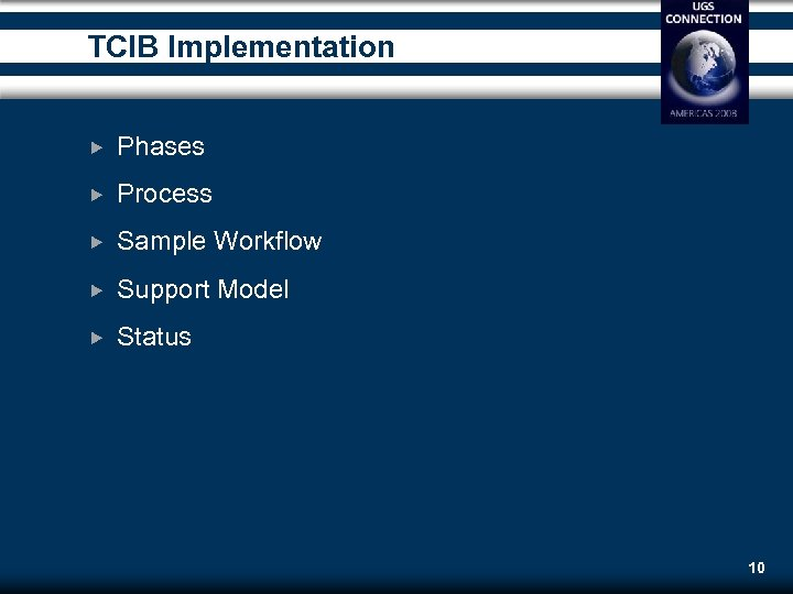 TCIB Implementation Phases Process Sample Workflow Support Model Status 10