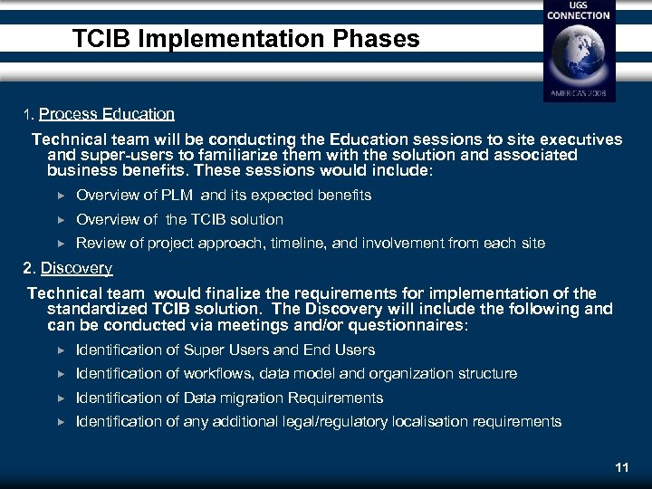 TCIB Implementation Phases 1. Process Education Technical team will be conducting the Education sessions