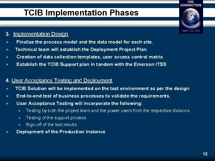 TCIB Implementation Phases 3. Implementation Design Finalize the process model and the data model