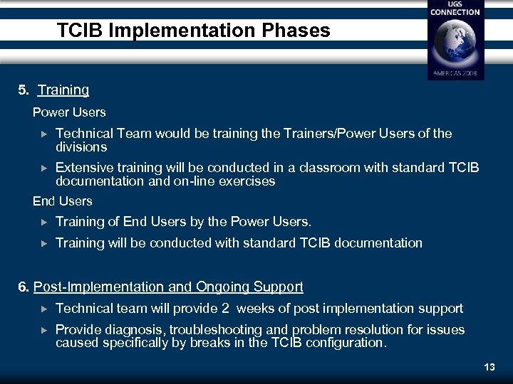 TCIB Implementation Phases 5. Training Power Users Technical Team would be training the Trainers/Power