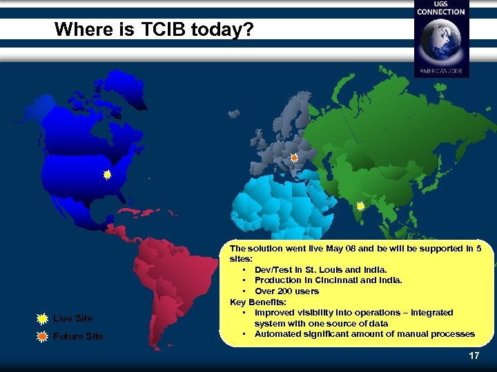 Where is TCIB today? Live Site Future Site The solution went live May 08