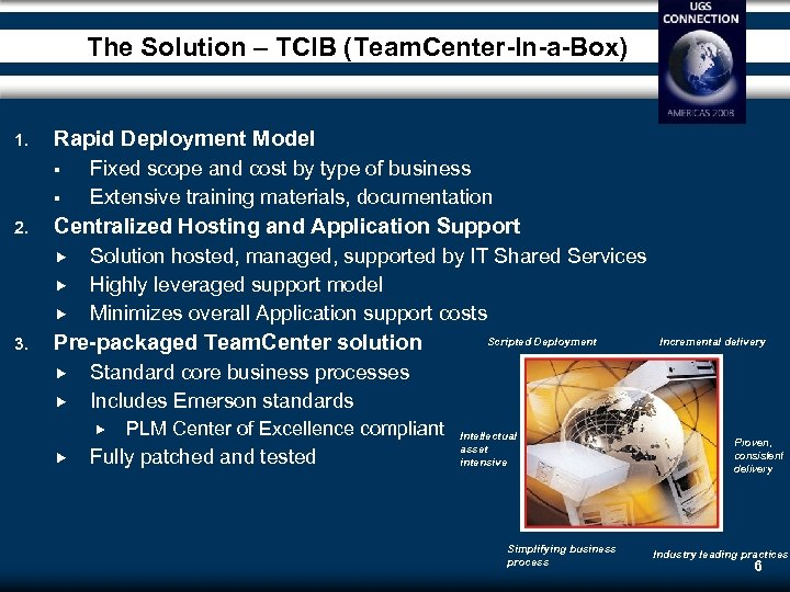 The Solution – TCIB (Team. Center-In-a-Box) 1. Rapid Deployment Model 2. Centralized Hosting and