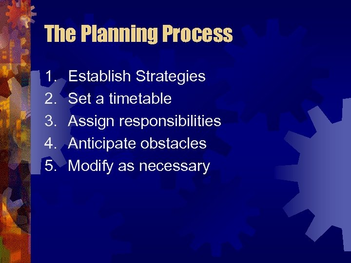 The Planning Process 1. 2. 3. 4. 5. Establish Strategies Set a timetable Assign