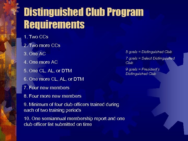 Distinguished Club Program Requirements 1. Two CCs 2. Two more CCs 3. One AC