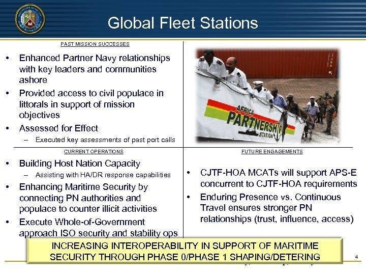 UNCLASSIFIED Global Fleet Stations PAST MISSION SUCCESSES • • • Enhanced Partner Navy relationships