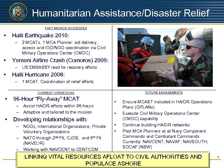 UNCLASSIFIED Humanitarian Assistance/Disaster Relief PAST MISSION SUCCESSES • Haiti Earthquake 2010: – 2 MCATs,
