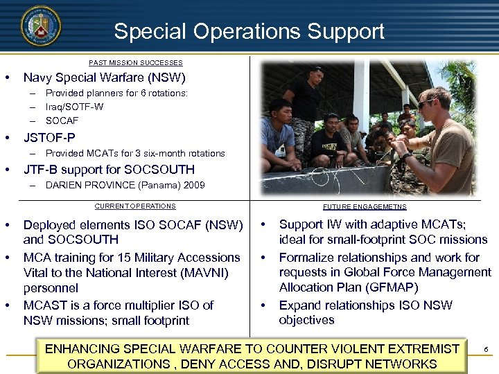 UNCLASSIFIED Special Operations Support PAST MISSION SUCCESSES • Navy Special Warfare (NSW) – Provided
