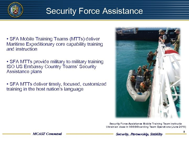 UNCLASSIFIED Security Force Assistance • SFA Mobile Training Teams (MTTs) deliver Maritime Expeditionary core