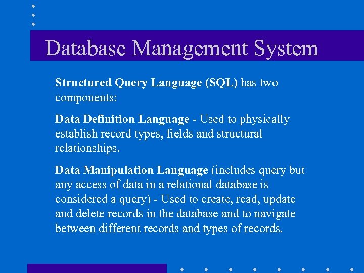 chapter 9 database management systems Database management systems, by raghu ramakrishnan and johannes gehrke, mcgraw hill, 2nd edition (isbn -07-232206-3) sql for smarties: advanced sql programming by joe celko, morgan kaufmann, 1995 (isbn 1-55860-323-9.