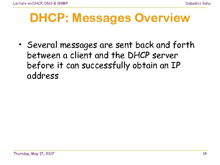 Lecture on DHCP, DNS & SNMP Debashis Saha DHCP: Messages Overview • Several messages