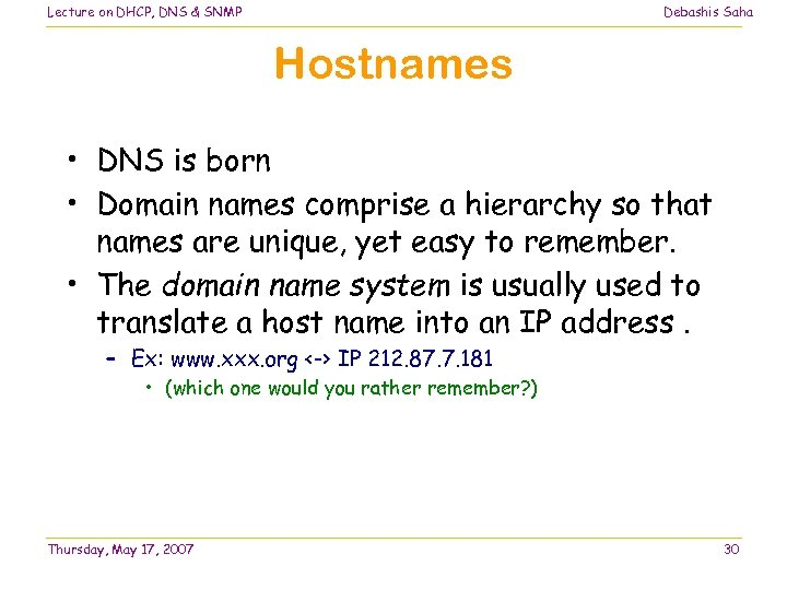 Lecture on DHCP, DNS & SNMP Debashis Saha Hostnames • DNS is born •