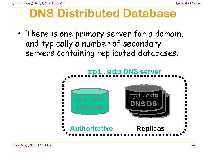 Lecture on DHCP, DNS & SNMP Debashis Saha DNS Distributed Database • There is