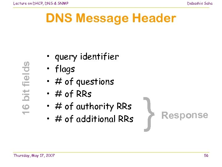 Lecture on DHCP, DNS & SNMP Debashis Saha 16 bit fields DNS Message Header