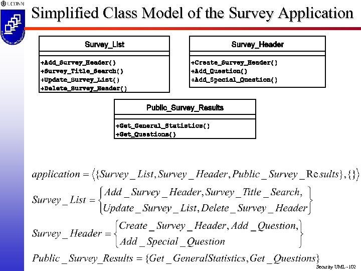 Simplified Class Model of the Survey Application Security UML -102