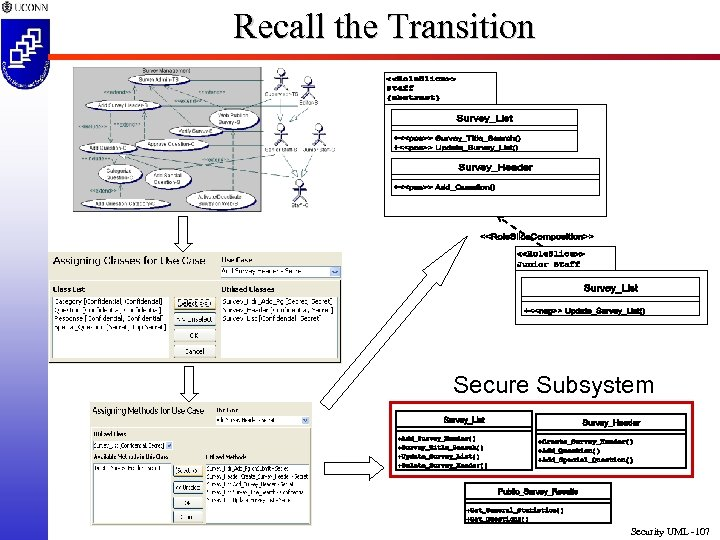 Recall the Transition Secure Subsystem Security UML -107