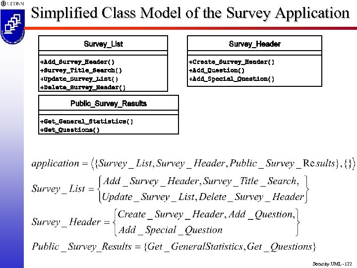 Simplified Class Model of the Survey Application Security UML -122