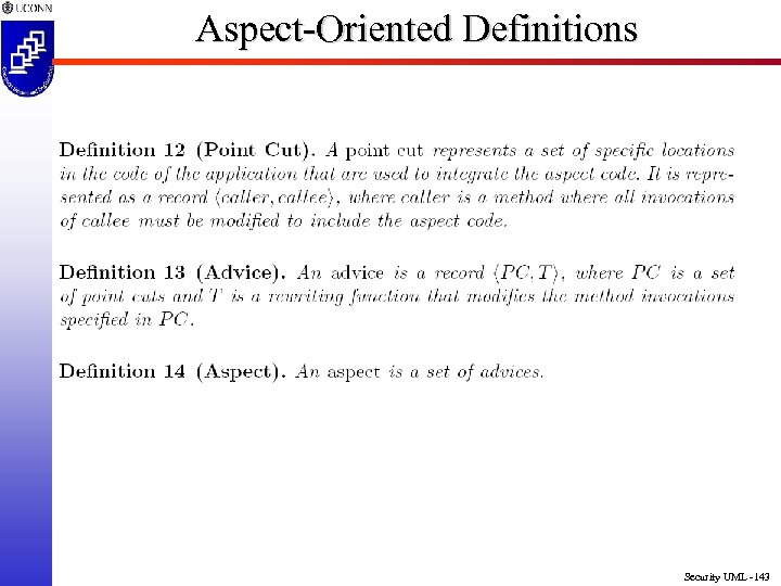 Aspect-Oriented Definitions Security UML -143