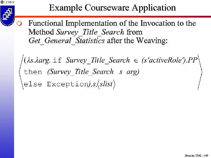 Example Courseware Application m Functional Implementation of the Invocation to the Method Survey_Title_Search from