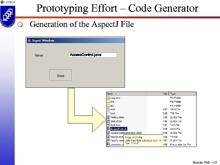 Prototyping Effort – Code Generator m Generation of the Aspect. J File Access. Control.