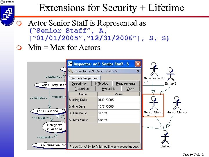Extensions for Security + Lifetime m Actor Senior Staff is Represented as m Min