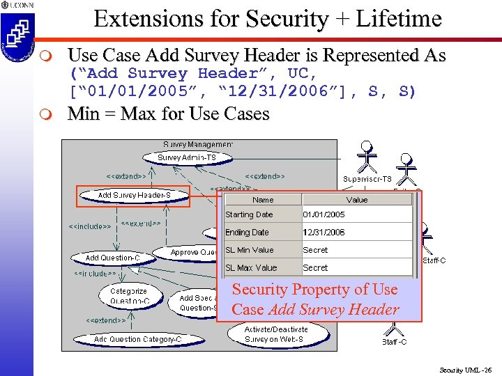 Extensions for Security + Lifetime m Use Case Add Survey Header is Represented As