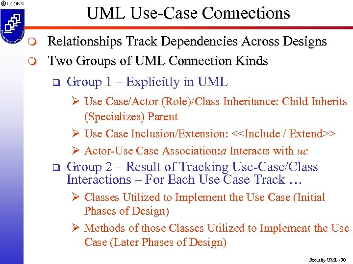UML Use-Case Connections m m Relationships Track Dependencies Across Designs Two Groups of UML