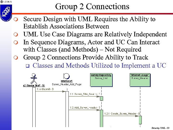 Group 2 Connections m m Secure Design with UML Requires the Ability to Establish