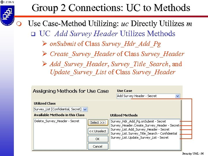 Group 2 Connections: UC to Methods m Use Case-Method Utilizing: uc Directly Utilizes m