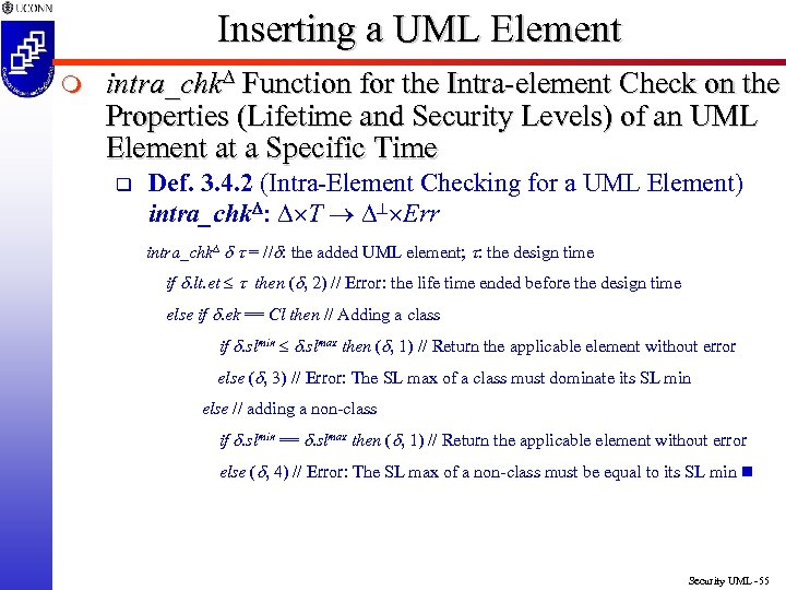Inserting a UML Element m intra_chk Function for the Intra-element Check on the Properties