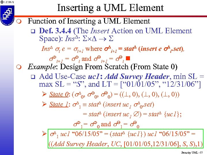 Inserting a UML Element m m Function of Inserting a UML Element q Def.
