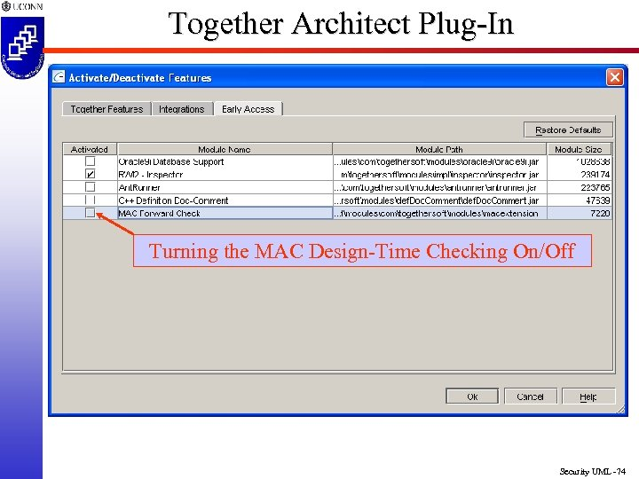Together Architect Plug-In Turning the MAC Design-Time Checking On/Off Security UML -74