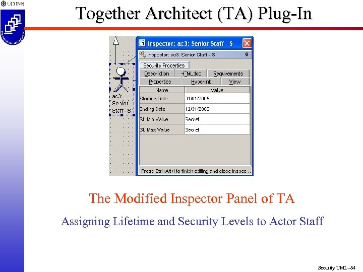 Together Architect (TA) Plug-In The Modified Inspector Panel of TA Assigning Lifetime and Security