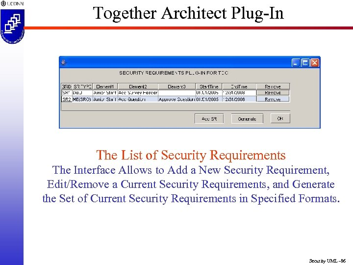 Together Architect Plug-In The List of Security Requirements The Interface Allows to Add a
