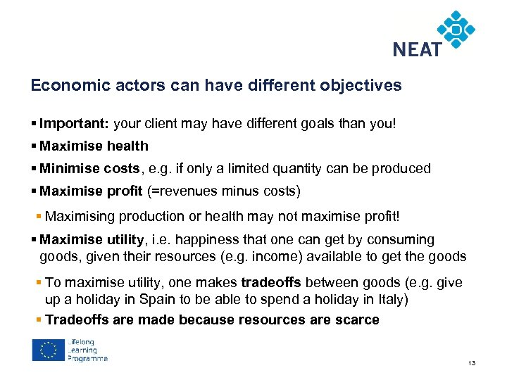 Chapter 4 Economic actors can have different objectives § Important: your client may have